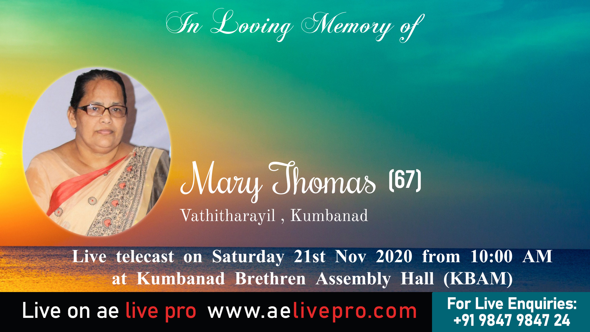 marythomas kumbanad funeral aelivepro